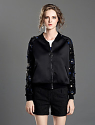 INPLUS LADY Women's Casual/Daily Chinoiserie JacketsEmbroidered V Neck Long Sleeve Fall / Winter Black Cotton / Polyester / Nylon