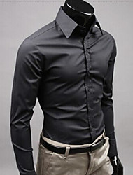 Men's Formal Work Wedding Simple Cute Street chic All Seasons Shirt,Solid Shirt Collar Long Sleeve Cotton Medium