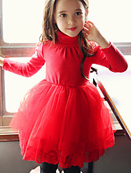 Girl's Casual/Daily Sports Solid Dress,Cotton Fall Winter Long Sleeve