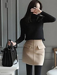 Women's Pencil Solid Skirts,Casual/Daily Low Rise Midi Elasticity Cotton Micro-elastic Fall