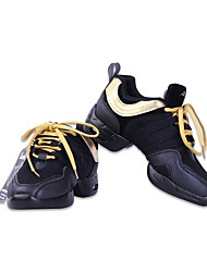 Women's Modern Leather Sneakers Outdoor Low Heel Black Black/Gold Red/Black