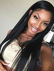 Glueless Lace Front Wigs Natural Black Silk Straight Wigs Brazilian Virgin Human Hair For Women