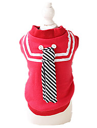 Dog Sweatshirt Red / Blue Dog Clothes Winter / Spring/Fall Stripe Casual/Daily