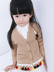 Girl Casual/Daily / Sports Solid Sweater & Cardigan,Cotton Fall Long Sleeve Short