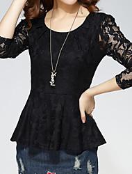 Damen Solide Einfach Street Schick Ausgehen Lässig/Alltäglich Übergröße T-shirt,Rundhalsausschnitt Herbst Winter LangarmRot Weiß Schwarz