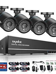 SANNCE® 8CH 4 in 1 720P HDMI AHD CCTV DVR 4PCS 1.0 MP IR Outdoor Security Camera Surveillance System