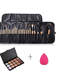 15 Color Concealer & Professional Daily Foundation Face Powder Makeup Brushes 24PCS Makeup Brush Set