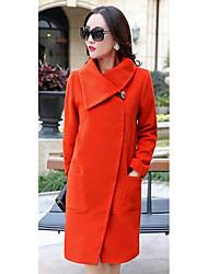 Damen Solide Einfach Lässig/Alltäglich Mantel Langarm Rosa / Orange / Lila Baumwolle