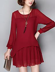 Feminino Chifon Vestido,Casual / Tamanhos Grandes Simples Sólido Decote Redondo Acima do Joelho Manga Longa Vermelho / Preto Poliéster