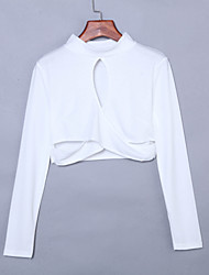 Women's Going out Sexy All Seasons Blouse,Solid Stand Long Sleeve White Cotton / Rayon / Acrylic Thin