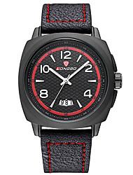 LONGBO Pánské Sportovní hodinky Hodinky k šatům Křemenný Kalendář Voděodolné Svítící Kůže Kapela Běžné nošení Luxusní Černá Hnědá