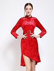 Feminino Bainha Vestido, Casual Simples Sólido Decote Redondo Assimétrico Manga Longa Vermelho / Preto Algodão / Poliéster OutonoCintura