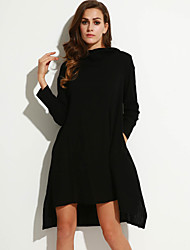 Women's Going out Street chic Loose Dress,Solid Hooded Asymmetrical Long Sleeve Red / Black Polyester Fall