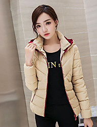 Regular Padded Coat,Simple / Cute Solid-Others Polypropylene Long Sleeve Hooded Pink / Red / Black / Multi-color