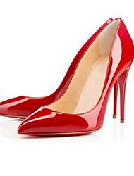 Feminino-Saltos-Sapatos com Bolsa Combinando-Salto Agulha-Preto / Vermelho / Amêndoa-Couro Envernizado-Casual / Festas & Noite