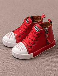 Boy's Sneakers Winter Comfort Cowhide Casual Flat Heel Magic Tape Black Red Others