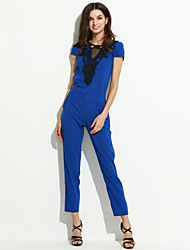 Women's Solid Blue Jumpsuits,Sexy Round Neck Short Sleeve