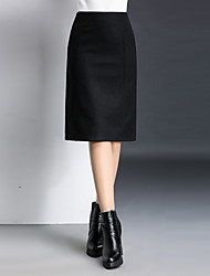 Women's A Line Solid Skirts,Casual/Daily Mid Rise Midi Zipper Cotton / Polyester Micro-elastic All Seasons