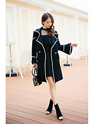 Sign ~ wind ladies big hit color dense edge seventh trumpet sleeve coat long section of wool coat