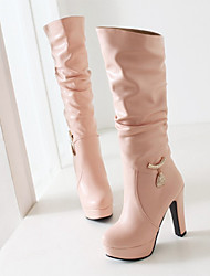 Women's Boots Winter Comfort PU Casual Stiletto Heel Black Pink White Almond