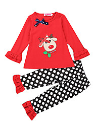 Girl Casual/Daily / Party/Cocktail Dot SetsChirstmas Cotton All Seasons / Fall Long Sleeve Clothing Set