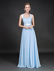 Floor-length Chiffon Lace-up Bridesmaid Dress - A-line Halter with Draping / Sash / Ribbon