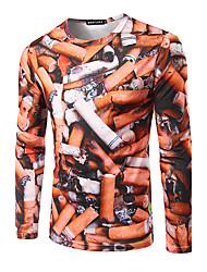 Herren Druck Einfach Lässig/Alltäglich / Arbeit T-shirt,Rundhalsausschnitt Herbst / Winter Langarm Weiß / Orange Polyester Mittel