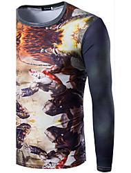Herren Druck Einfach Lässig/Alltäglich T-shirt,Rundhalsausschnitt Langarm Rot / Orange / Gelb Baumwolle