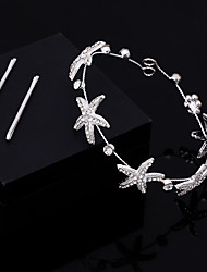 1pc Women's Silver Crystal Seafish Headpiece-Wedding Forehead Hairpin Pins Hair Tool  3*30cm
