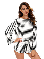 Women's Batwing Stripe Cover-Up Romper