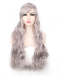 Sliver Grey Body Wave Natural Looking Popular Heat Resistant Synthetic Wig for European and American Ladies Fashion Wearing Hair