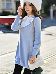 Women's Going out / Casual/Daily / Holiday Cute / Street chic / Sophisticated A Line / Sheath / Sweater Dress,Solid Round Neck Above Knee