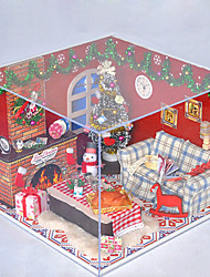 Christmas Romantic Gift Manual Music Dust Cover Model DIY Wood Dollhouse Including All Furniture Lights Lamp LED