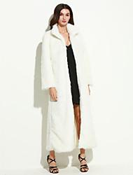 Mulheres Casaco de Pelo Casual / Tamanhos Grandes Moda de Rua Inverno,Sólido Branco / Preto Pêlo Sintético Colarinho Chinês-Manga Longa