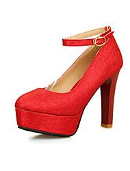 Feminino-Saltos-Plataforma / Sapatos com Bolsa Combinando-Salto Grosso-Azul / Rosa / Vermelho / Prateado / Dourado-Courino-Escritório &