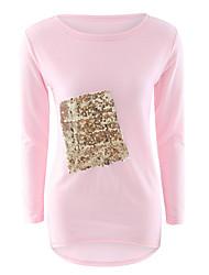 Damen Patchwork Einfach Lässig/Alltäglich T-shirt,Rundhalsausschnitt Herbst / Winter Langarm Rosa / Weiß / Schwarz Polyester Mittel