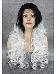imstyle 26''popular ondulée drag queen blanc perruques synthétiques avant de dentelle de haute chaleur racine noire