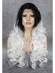 imstyle 26''popular ondulado drag queen brancas rendas frente perucas sintéticas calor elevado raiz preta