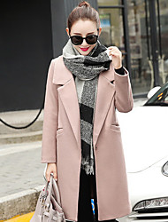 Women's Daily Coats/Jackets Winter Fall/Autumn Jacket,Solid Color V Neck Long Sleeve Long Cotton