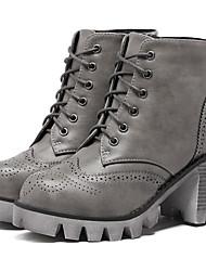Damen-Stiefel-Lässig-PU-Blockabsatz-Andere-Schwarz Grau