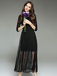 Dámské Jednoduché Běžné/Denní Swing Šaty Výšivka,Dlouhý rukáv Kulatý Midi Černá Polyester Podzim Mid Rise Neelastické Střední