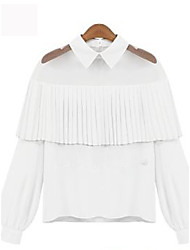 Women's Ruffle Casual Simple Fall Blouse,Solid Shirt Collar Long Sleeve White / Black Nylon Medium