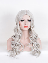 Fashion Long Wave Grey Color For Afro Women Synthetic Wigs