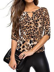 Damen Leopard Sexy / Einfach Ausgehen / Lässig/Alltäglich T-shirt,Rundhalsausschnitt Alle Saisons Langarm Braun Kunstseide Dünn