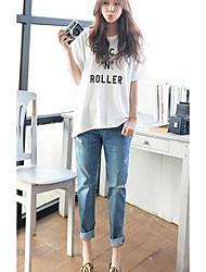 Damen Skinny Jeans Hose-Lässig/Alltäglich Einfach einfarbig Mittlere Hüfthöhe Reisverschluss / Knopf Baumwolle Micro-elastischHerbst /