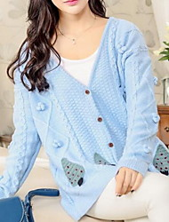 Women's Going out Sexy Regular Cardigan,Jacquard V Neck Long Sleeve Cotton Fall Medium Micro-elastic