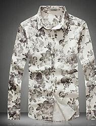 Men's Casual/Daily / Beach / Holiday Active All Seasons Shirt,Print Shirt Collar Long Sleeve Red / Gray Cotton Medium