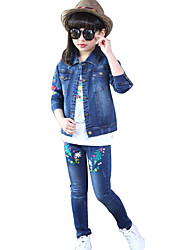 Girls Fashion Han Edition Section Qiu Dong Outfit Embroidery Flower Cowboy Leisure Two-Piece Outfit