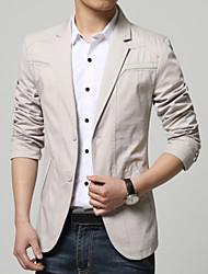 Men's Work Slim Flat Collar Cotton Suit Regular Blazer , Cotton / Polyester Pure
