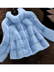 Women's Casual/Daily Simple Fur Coat,Solid Long Sleeve Blue / Pink / White / Black Special Fur Types